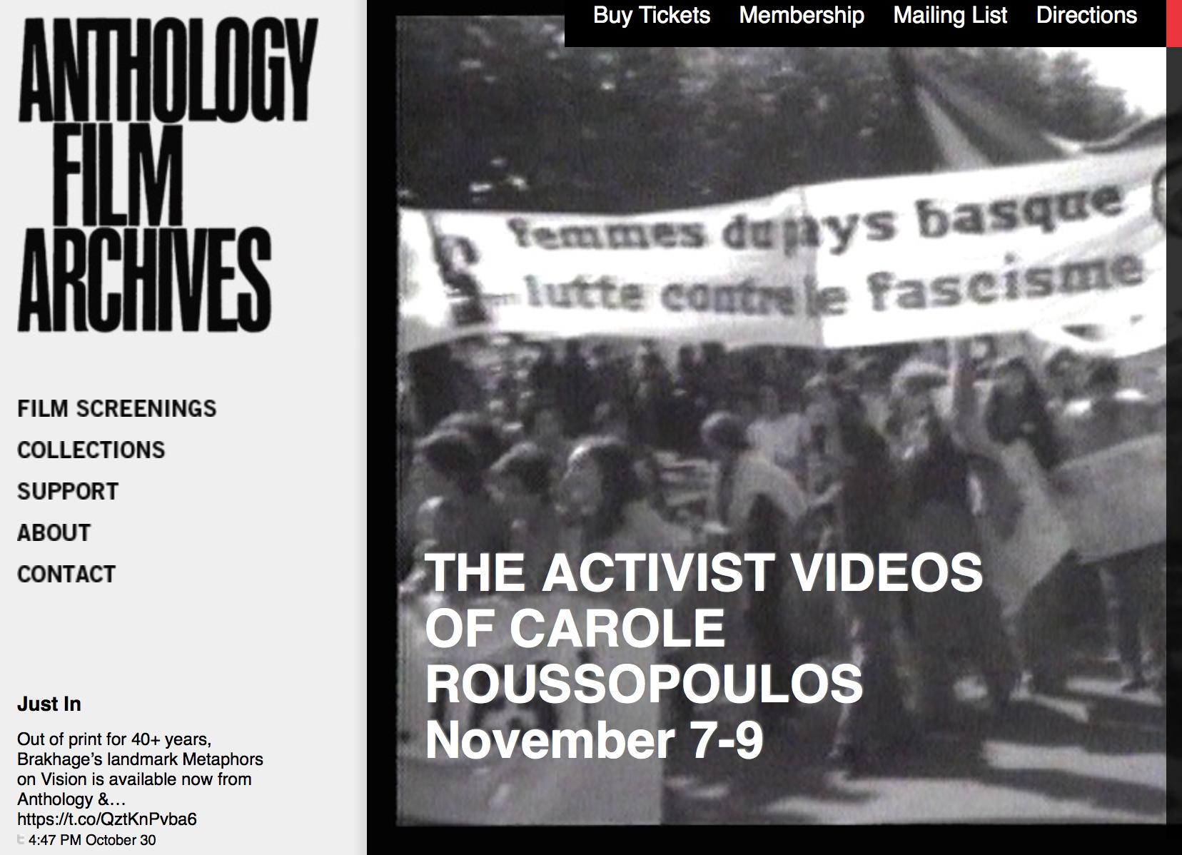 7 au 9 novembre : vidéos de Carole Roussopoulos à l'Anthology Film Archives de NY